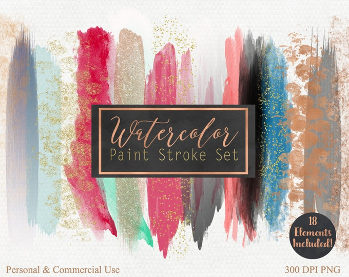WATERCOLOR & ROSE GOLD Brush Stroke Clipart Commercial Use Clip Art Watercolor Paint Header Rose Gold Confetti Watercolor Blog Logo Clip Art