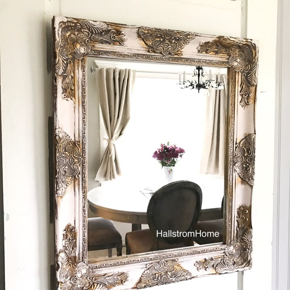 pink distressed shabby chic mirror bathroom mirror nursery 20338