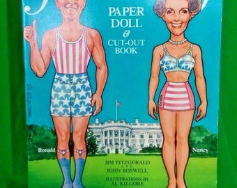 Vintage First Family Ronald and Nancy Reagan Paper Dolls UNCUT