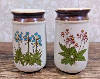 Vintage Stoneware Salt and Pepper Shakers Beige and Brown w/ Flowers
