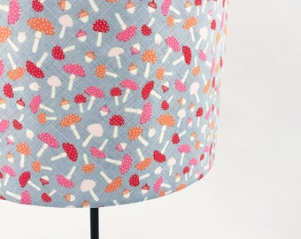 Toadstool pink , white and grey lampshade
