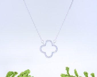 Open Clover Necklace Cz 925 Silver Yellow Rose Gold