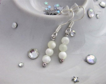 Mother of Pearl White Silver Dangle Earrings with Sterling Silver Hooks, Mothers Day, Gift, Bridal Earrings, Wedding, Trinity Collection