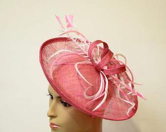 hot pink sinamay Fascinator, Kate Middleton Style Fascinator, Kentucky Derby Fascinator, English Royal Hat, Wedding ,Formal,Dressy ,Church