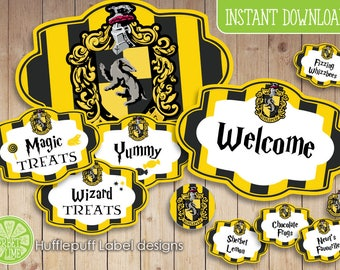 140 Harry Potter inspired Hufflepuff Sweet/Candy Labels