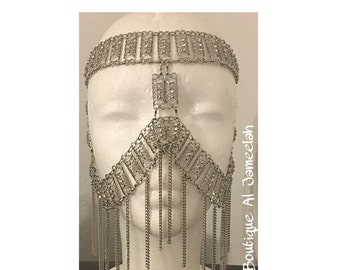 Silver  facechain , Silver Face Chain, Silver Headpiece, gold necklace, gold statement jewelry, crystal Necklace,gold chain