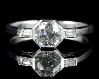 Antique Art Deco Diamond Engagement Ring 18ct White Gold