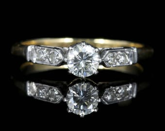 Antique Edwardian Diamond Solitaire Engagement Ring Circa 1915