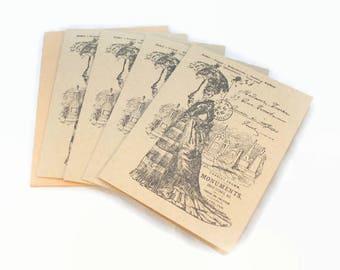 Halloween Cards, Skeleton, Graveyard, Victorian, Gothic, Note Card Set, Spooky Halloween Cards, Halloween Greeting, Blank Note Cards