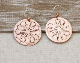 Beautiful Copper Mandala Earrings