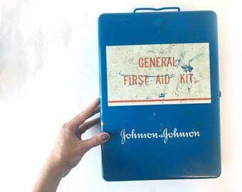 Vintage First Aid Kit 1970s First Aid Metal Box 70s Johnson and Johnson General First Aid Tin First Aid Kit 1970s Medical Kit Collectable