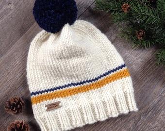 "Women's Knit Beanie ~ Men's Winter Knit Hat with Pom Pom ~ Woodland - Rustic Knitted Hat ""THE TRENTON"" in Mustard-Blue Heather-Aran"