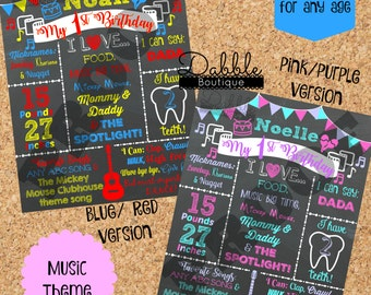 Music Theme Birthday Chalkboard / Music Birthday stat board