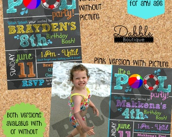 Pool Party Birthday Invitation / Pool Birthday Invitation / Beach Birthday Invite / Pool Birthday Invite