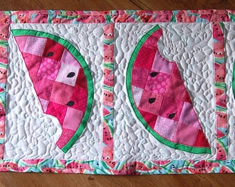 Patchwork Watermelon Quilted Table Runner