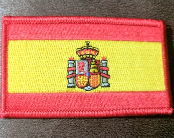 "Spain Flag Iron On Patch 2 1/16"" X 3 1/2"" Free Shipping 70203"