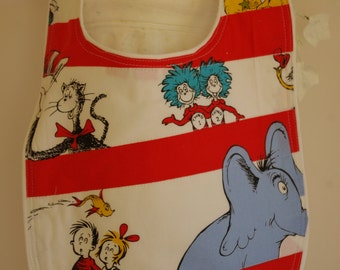 Bib Dr Suess terry cloth snap closure quilted