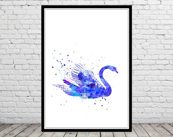 Swan, swan print, print, bird art, watercolor print, bird, bird print watercolor swan, swan art, animal art, bird (2792b)