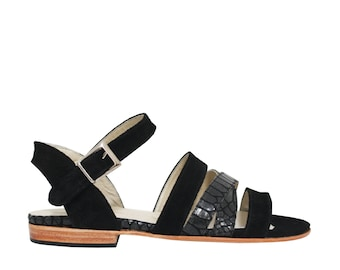 AZALEA BLACK - flat Sandals - 100% leather - free shipping