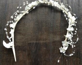 Vintage beaded flowergirl headband