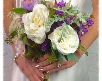 Wedding Bouquet, Bridal Bouquet, Silk Bouquet, Plum Bouquet, Artificial Bouquet, Flower Bouquet