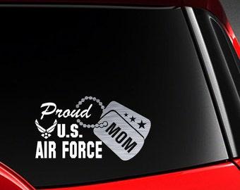 """Proud US Air Force Mom Vinyl Car Decal Sticker 7.5"""" (W) w/ Silver Dog Tag"""