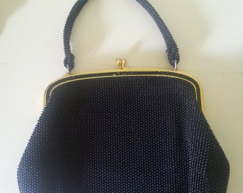 Vintage black beaded hand purse, vintage black bag, 1940's purse, 1940's black purse, 1940's hand bag. A1