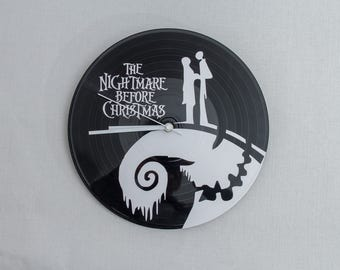 Vinyl clock | Nightmare before Christmas wall clock | Vinyl Jack Skeleton clock | Vinyl record clock | Upcycled home decor | Wall clock