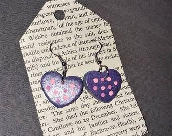 Polka Dot Wood Heart Earrings