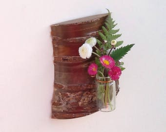 Wall mounted or freestanding bud vase/ Cherry wood wall hanging/ Natural wall decor