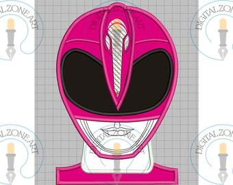 Power Ranger Pink Applique-Power Ranger Pink  Portrait Head-Power Ranger-Machine Embroidery Designs - INSTANT DOWNLOAD