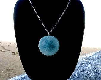 Sand dollar pendant,Periwinkle