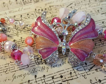 Pretty in pink butterfly necklace
