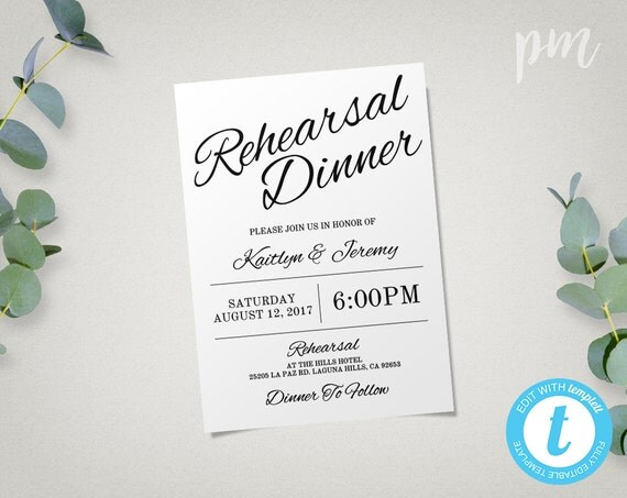 Who Is Invited To The Wedding Rehearsal Dinner: Rehearsal Dinner Invitation Template Instant Download