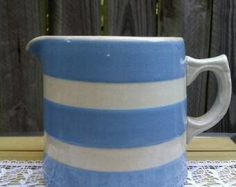 Vintage Country Kitchen Jug Blue/White Stripe