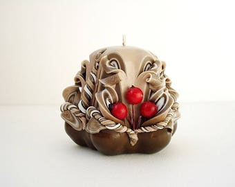 Carved candle handmade - brown, beige, red - interior candle