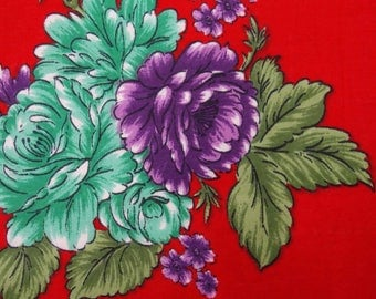 "Designer Fabric, Floral Print, Red Fabric, Sewing Crafts, Home Decor Fabric, 45"" Inch Cotton Fabric By The Yard ZBC7576B"