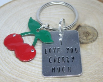 I love you cherry much keyring