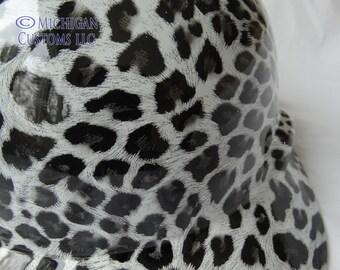 Black and White Leopard Reg Brim Custom Hydrographic Hard Hat- MSA V-Gard with Fas Trac Suspension III