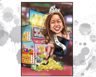 Custom Caricature - 1 person - custom art - perfect retirement or birthday gift for her
