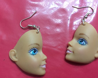 Doll face earrings/jewelry/charms/altered/doll parts