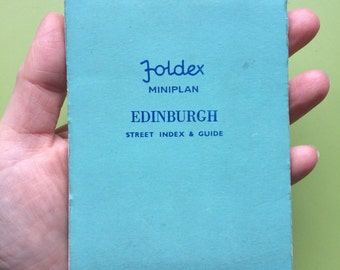 Foldex miniplan of Edinburgh , Edinburgh street index and guide , vintage Edinburgh map , Vintage map of Edinburgh , Scottish map , vintage
