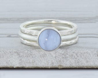 Blue Lace Agate Ring - Minimalist Ring for Women - Sterling Silver Gemstone Ring - Gift For Her - Bohemian Ring Stacking Set