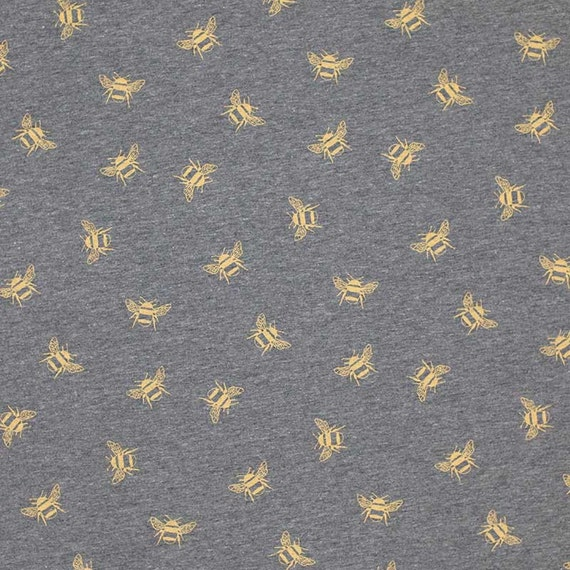 Navy And Grey Visual Merchandising Shop Display November: Ochre Bumble Bees On Grey Cotton Jersey Knit Fabric From