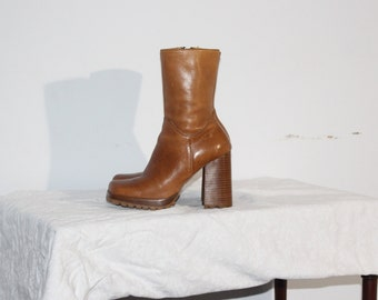 Vintage Leather Platform Boots