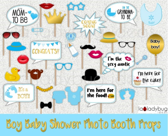 Boy Baby Shower Photo Booth Props. Gold/blue Printable. DIY Baby Shower  Bubble Speech. Instant Download. PDF Digital File. High Resolution.