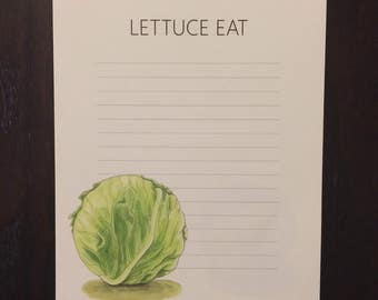 Lettuce Eat - Food Pun Grocery List - Note Pad