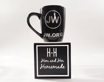 unique JW mug with gold vinyl