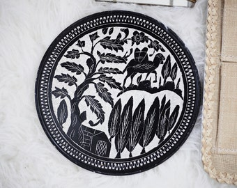 Vintage handmade painted black and white camel plate / display plate / camel decor