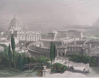 19th Century Hand Colored Italy Engraving - Saint Peter's Church Rome